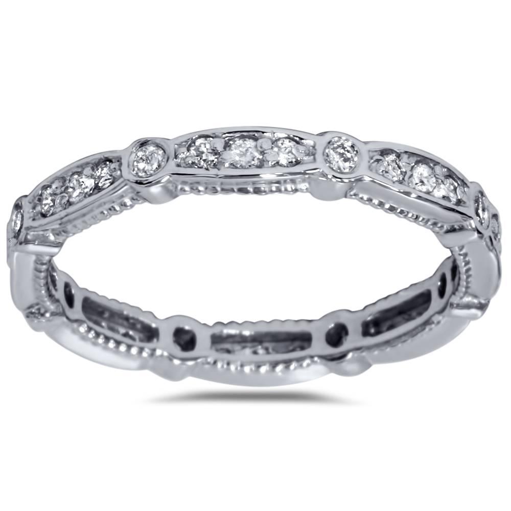 3 8ct diamond eernity vintage wedding stackable ring 14k. Black Bedroom Furniture Sets. Home Design Ideas