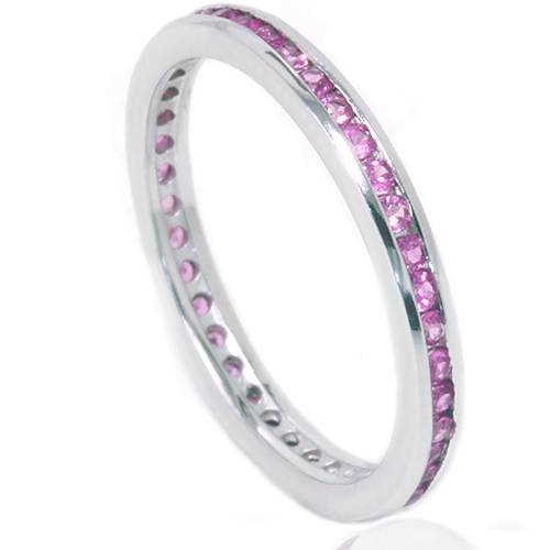 1 2ct pink sapphire stackable ring 14k white gold ebay