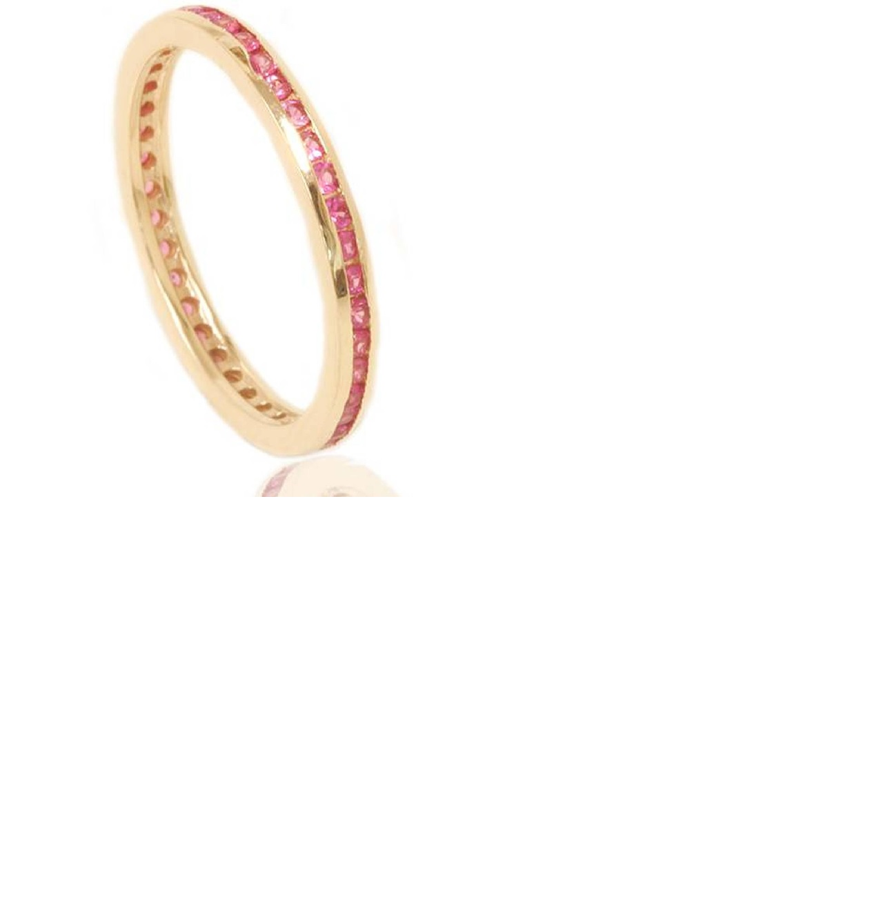 Pompeii3 1/2 Ct Pink Sapphire Genuine Eternity Ring Anniversary Band Stackable Guard Band