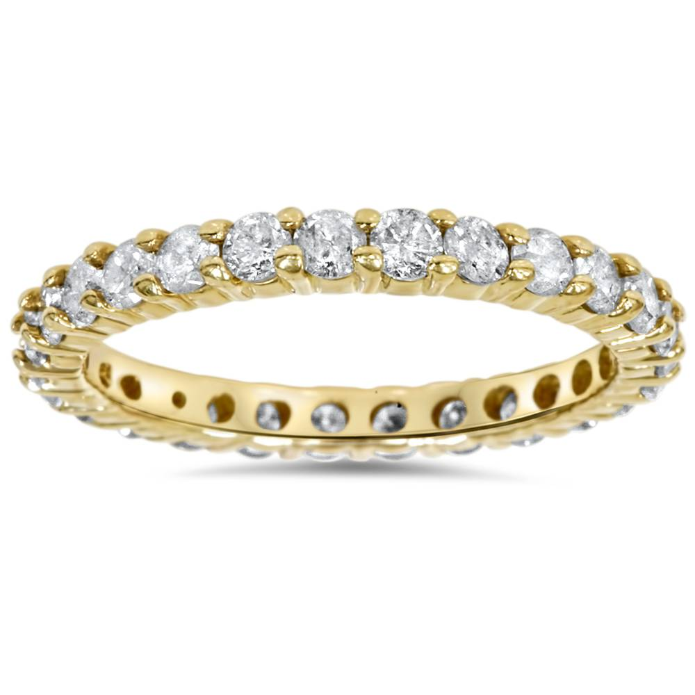1 1 2ct prong diamond eternity ring 14k yellow gold ebay. Black Bedroom Furniture Sets. Home Design Ideas