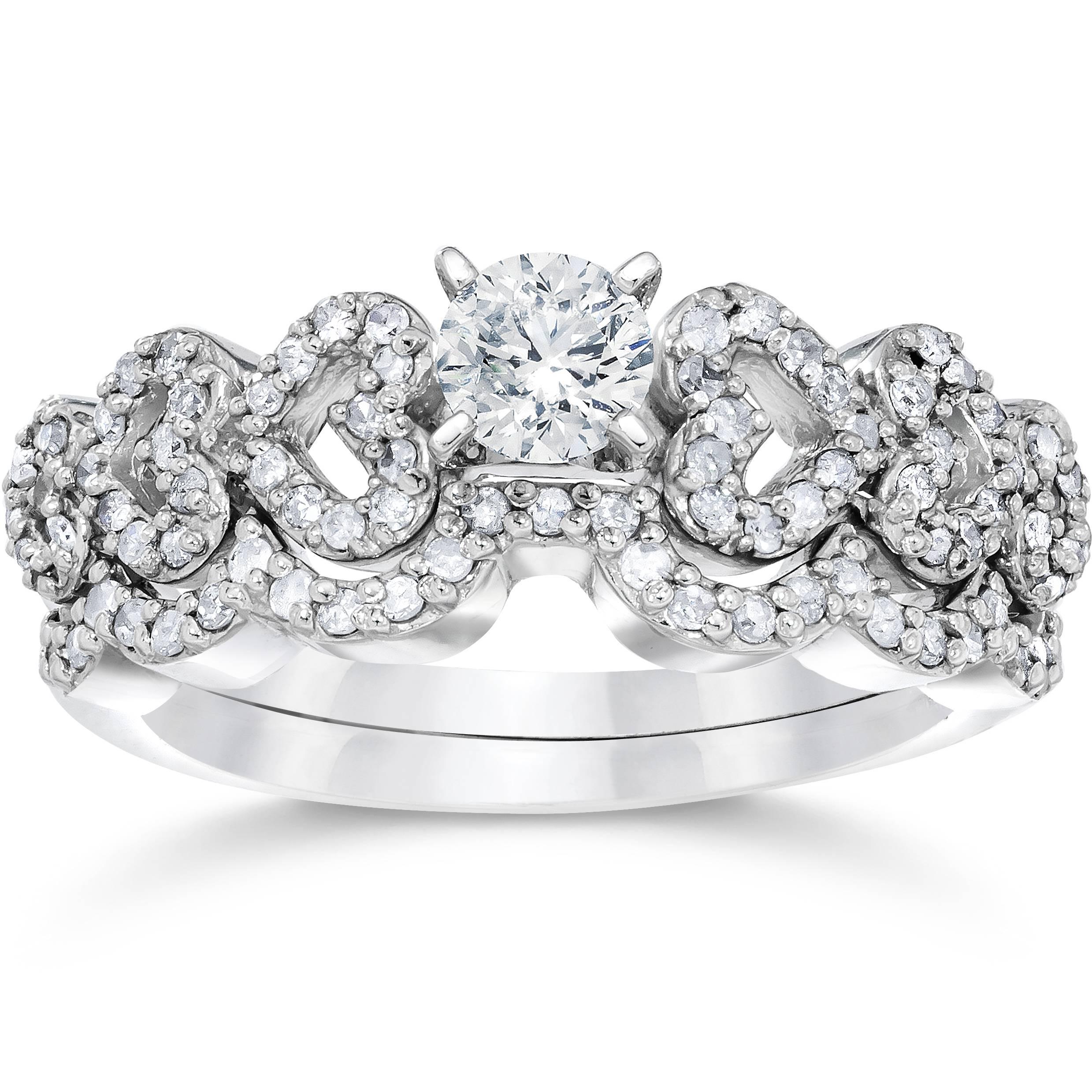3 4ct heart shape diamond engagement ring set 14k white. Black Bedroom Furniture Sets. Home Design Ideas