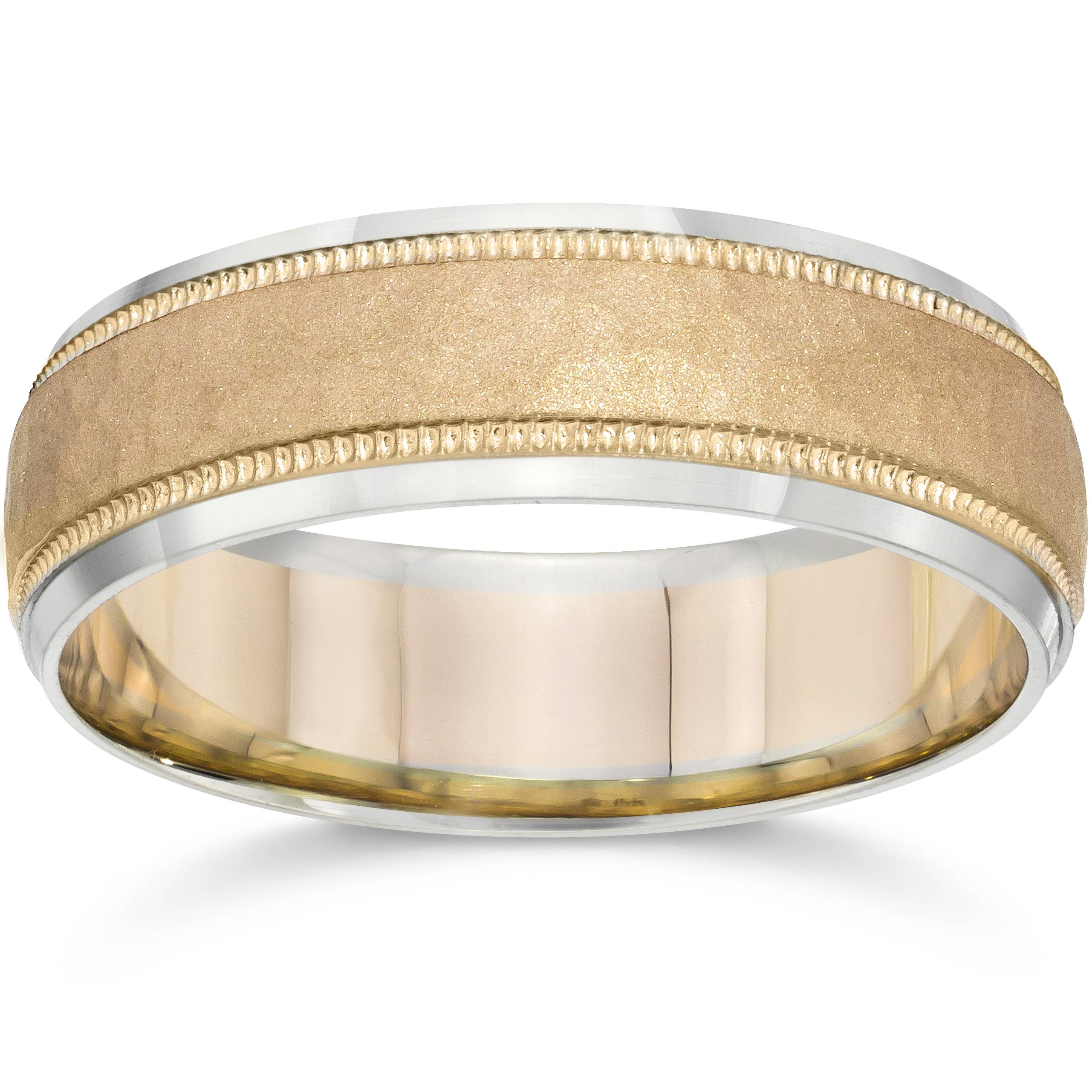 Hammered Two Tone 6mm Mens 14K White Amp Yellow Gold Wedding Band