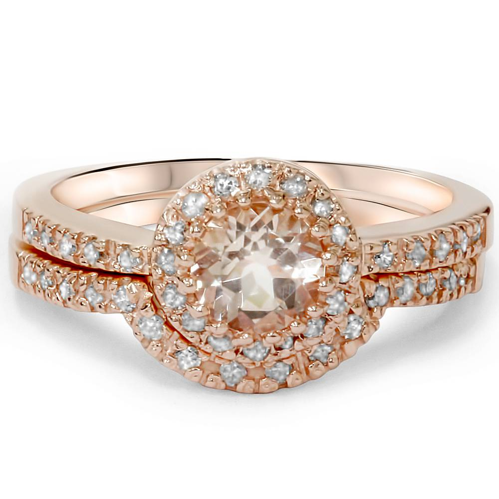 1ct Morganite & Diamond Engagement Ring Set 14K Rose Gold