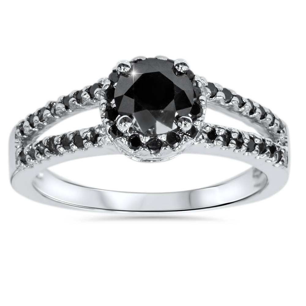1 5 8ct Treated Black Diamond Pave Halo Engagement Ring 14K White Gold