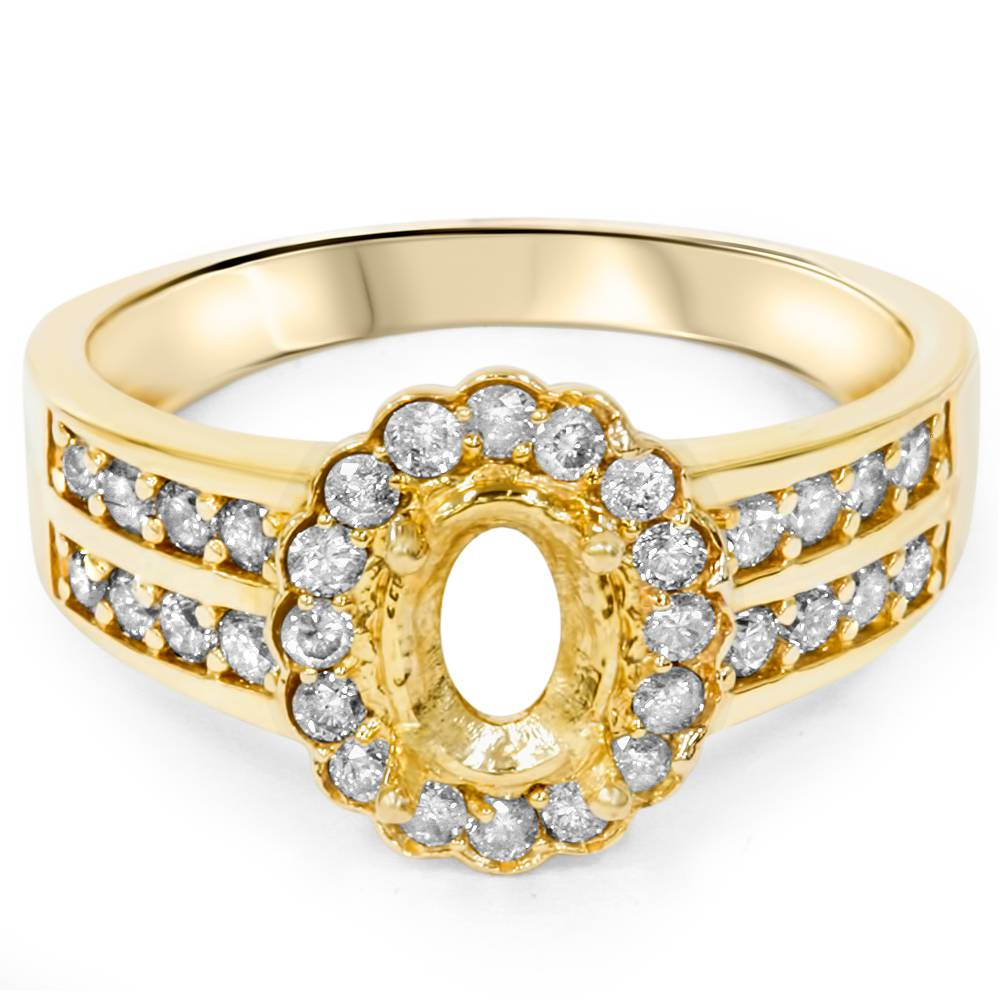 3 8ct halo oval shape diamond gold engagement ring setting. Black Bedroom Furniture Sets. Home Design Ideas