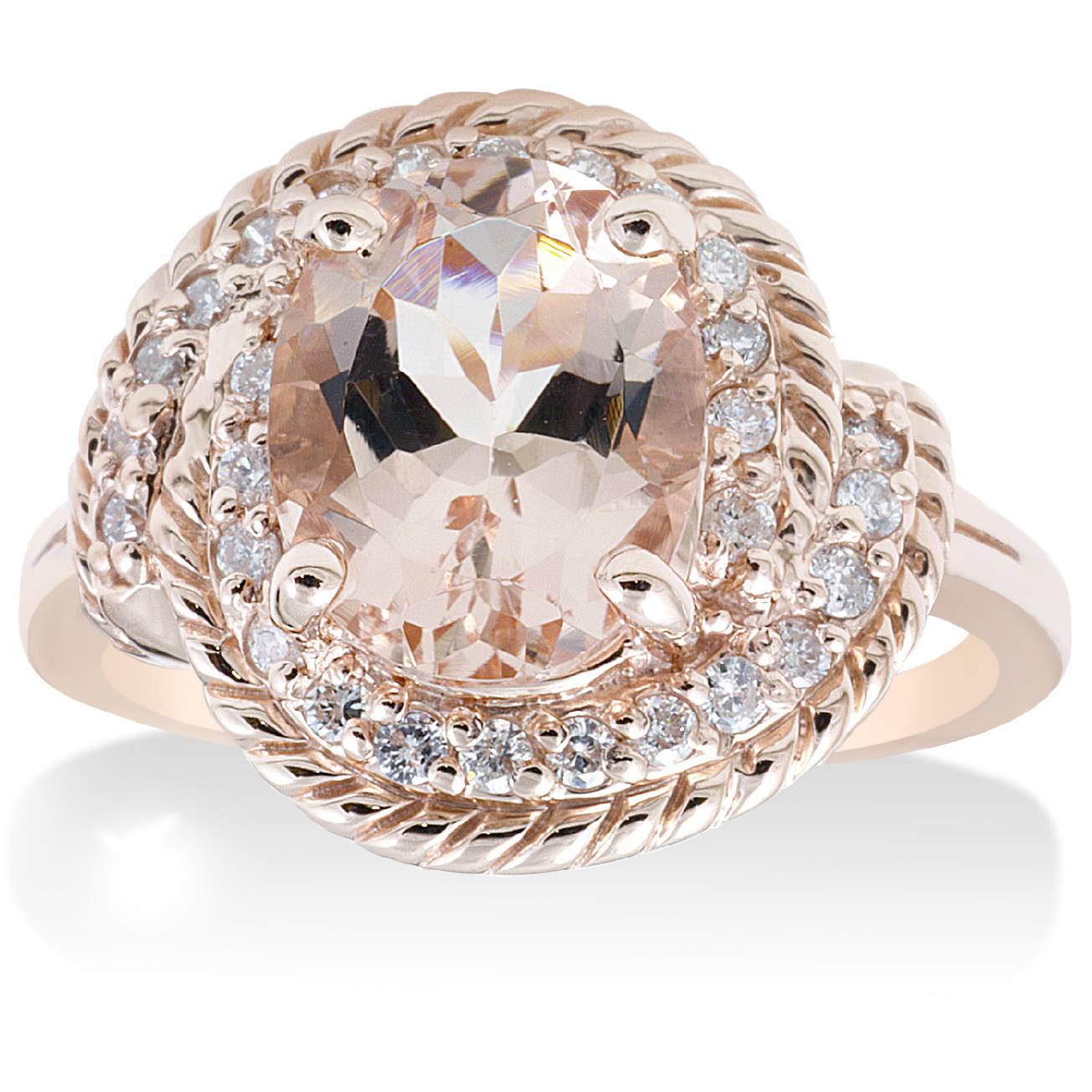 1 3 4ct morganite diamond vintage halo engagement. Black Bedroom Furniture Sets. Home Design Ideas