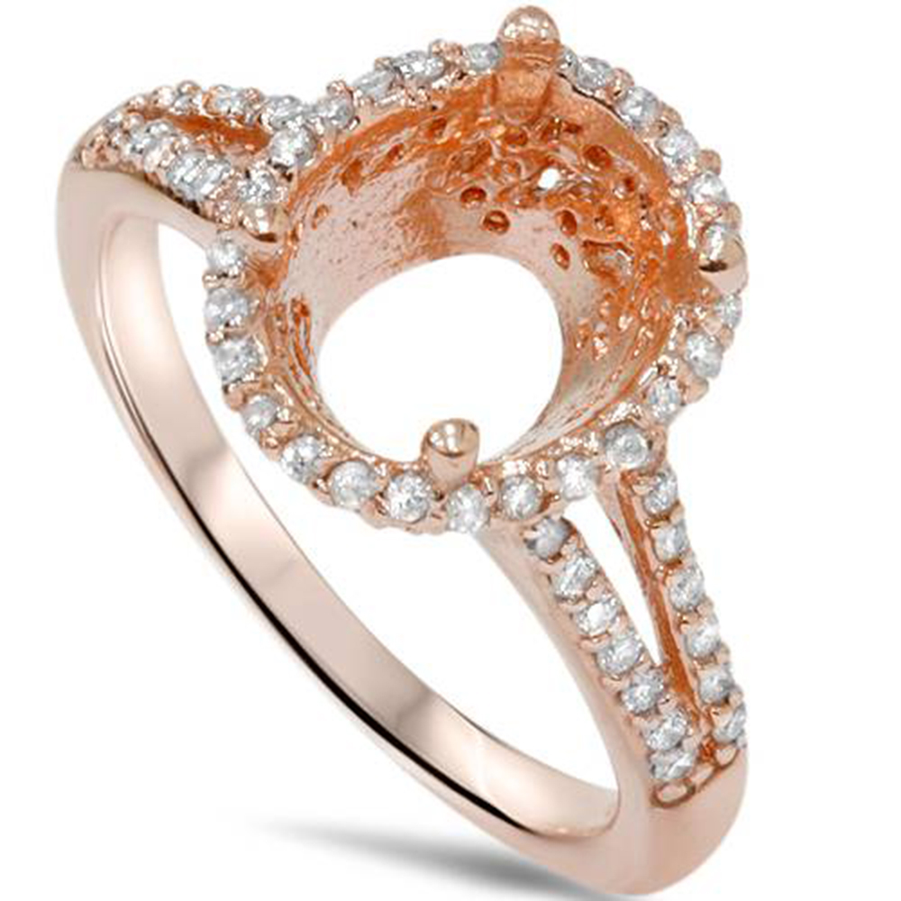1 2ct Split Shank Halo Ring Setting Solid 14K Rose Gold