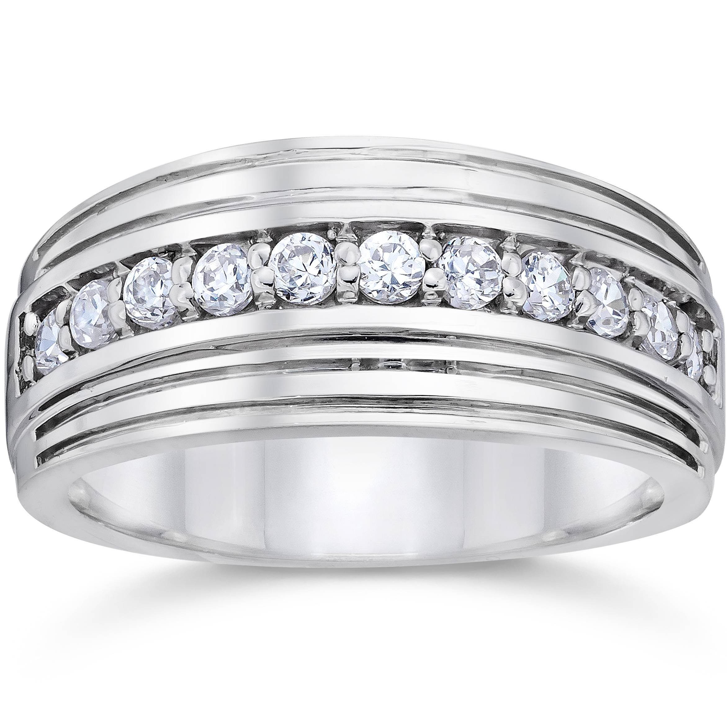 1 2 carat mens diamond wedding ring 10k white gold ebay for Mens wedding rings with diamonds white gold