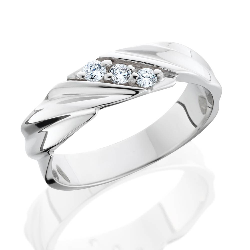 Mens Diamond Wedding Ring 3 Stone 14K White Gold High Polished Band