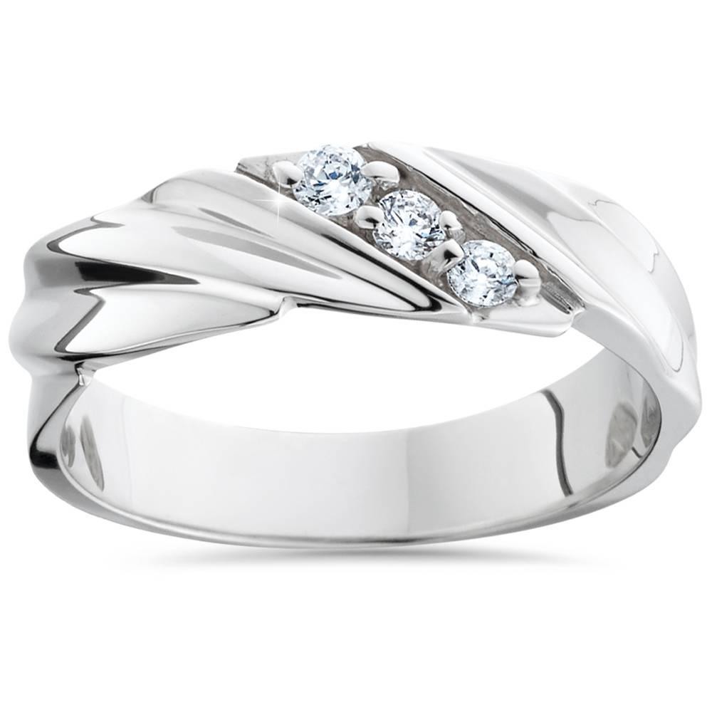 mens wedding ring 3 14k white gold high