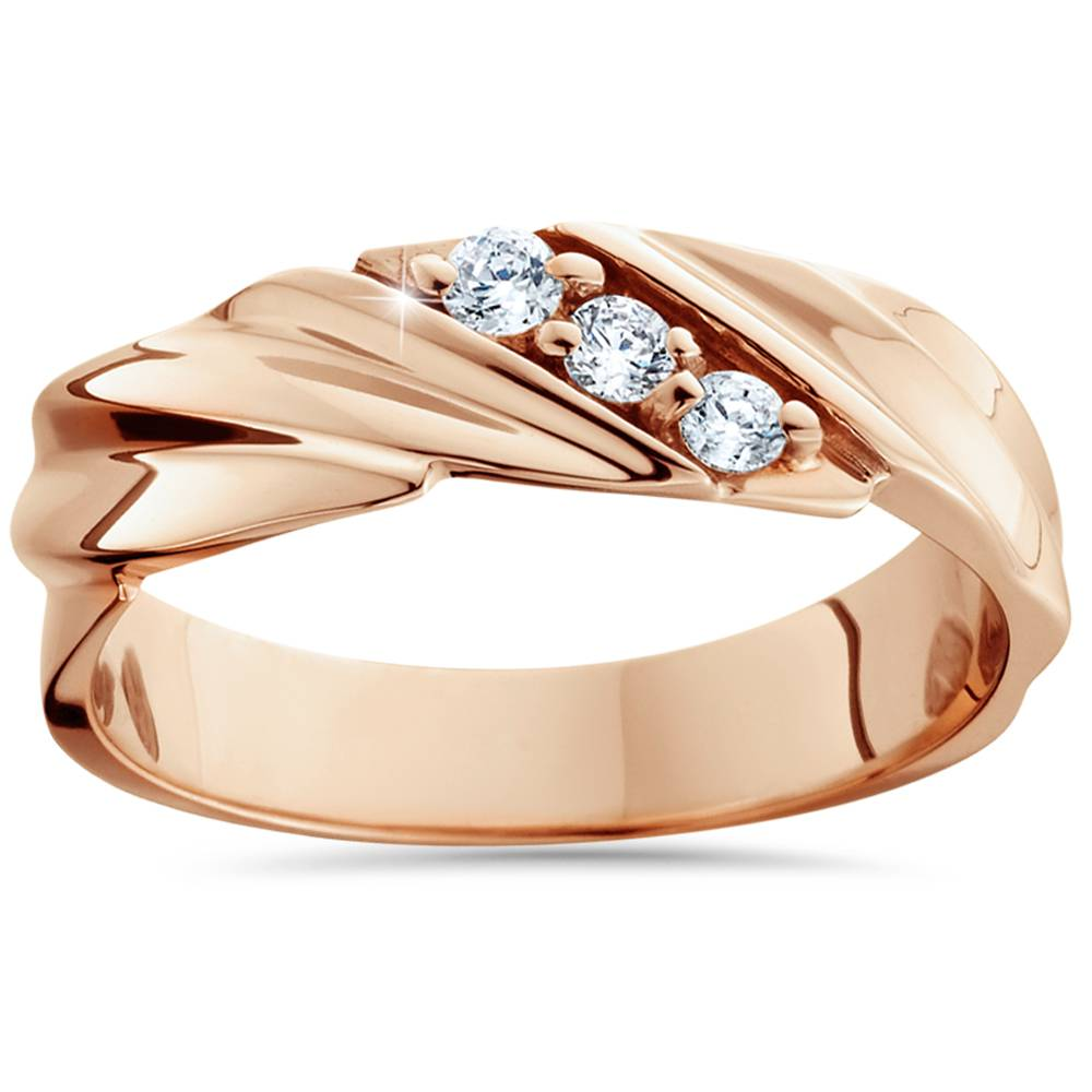 1 10ct diamond 14k rose gold mens wedding ring ebay. Black Bedroom Furniture Sets. Home Design Ideas
