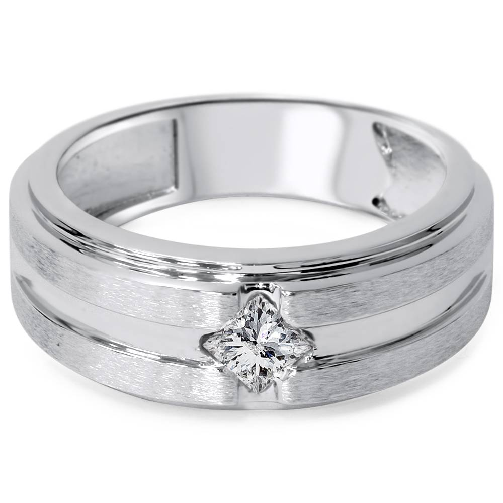 3 8ct mens princess cut solitaire brushed wedding