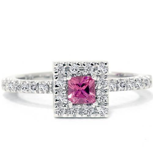 50ct pink sapphire princess cut engagement halo