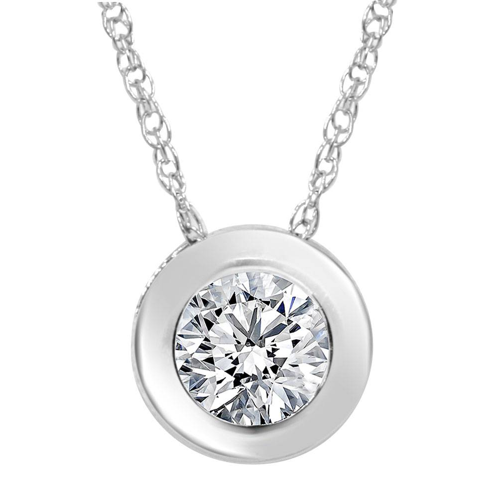1 2ct solitaire bezel diamond pendant 14k white gold ebay. Black Bedroom Furniture Sets. Home Design Ideas