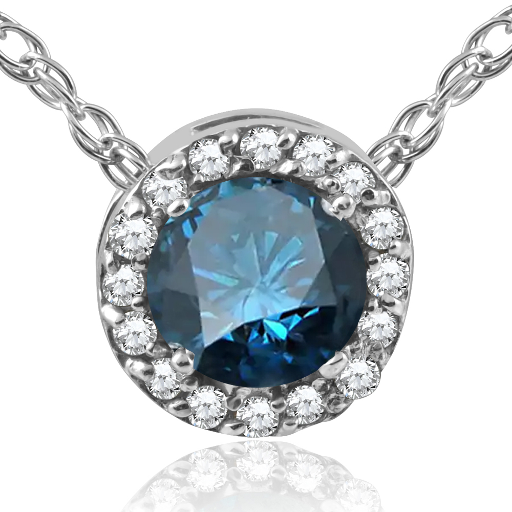 1 2ct treated blue diamond pave halo pendant 14k white. Black Bedroom Furniture Sets. Home Design Ideas