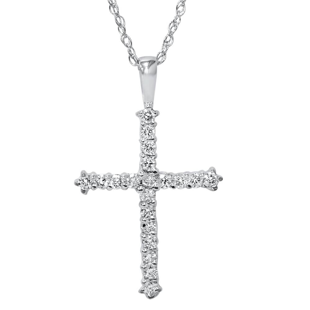 14k white gold 1 2ct diamond cross pendant necklace ebay. Black Bedroom Furniture Sets. Home Design Ideas