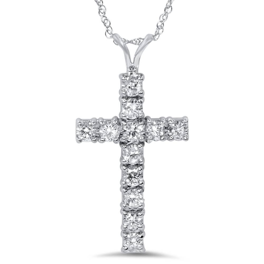 White Gold 1ct Real Diamond Cross Pendant 14k New Ebay
