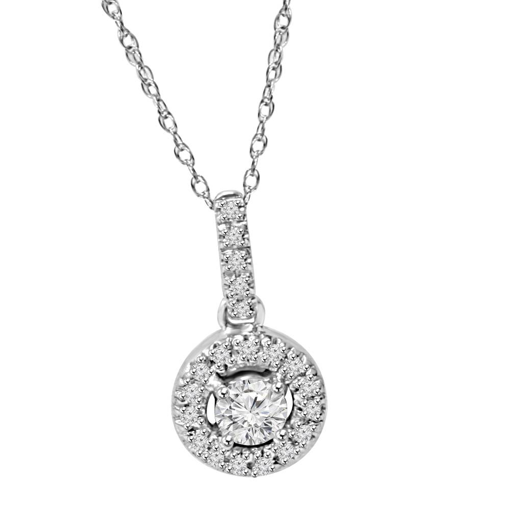 14k 1 3ct floating solitaire pave round diamond pendant. Black Bedroom Furniture Sets. Home Design Ideas