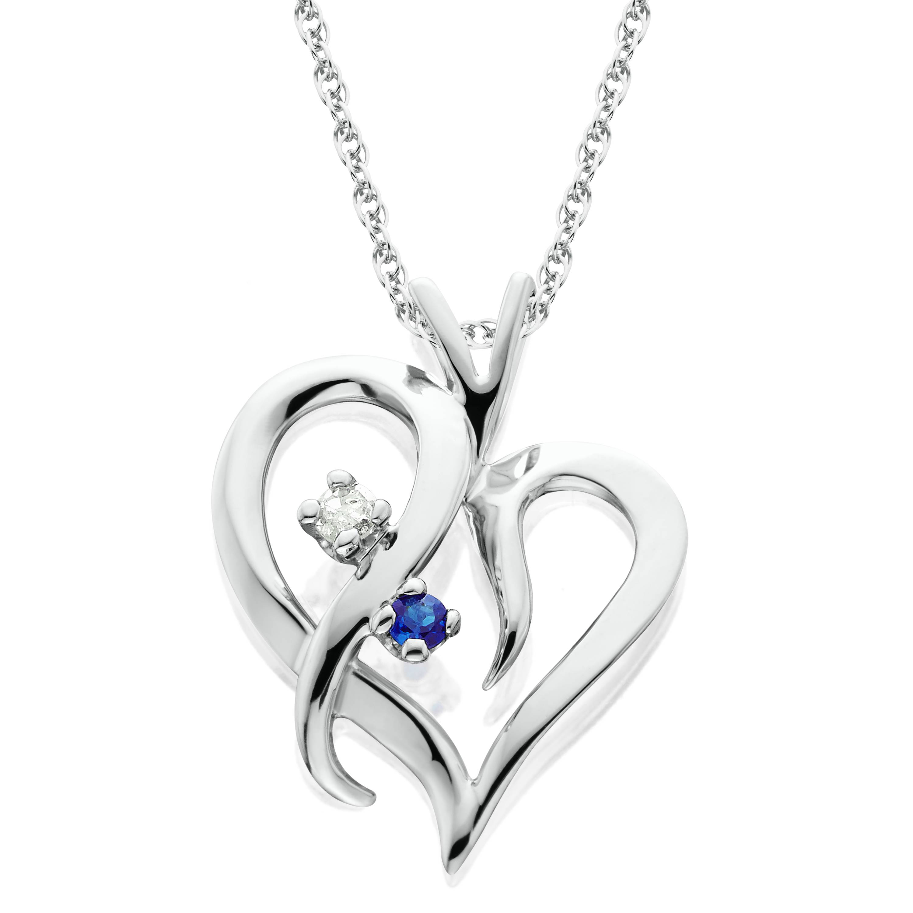 Blue Sapphire & Diamond Heart Pendant 14 KT White Gold With 18