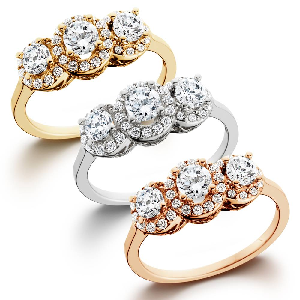 100ct Diamond 3 Stone Antique Halo Engagement Ring In White Yellow Or Rose  Gold