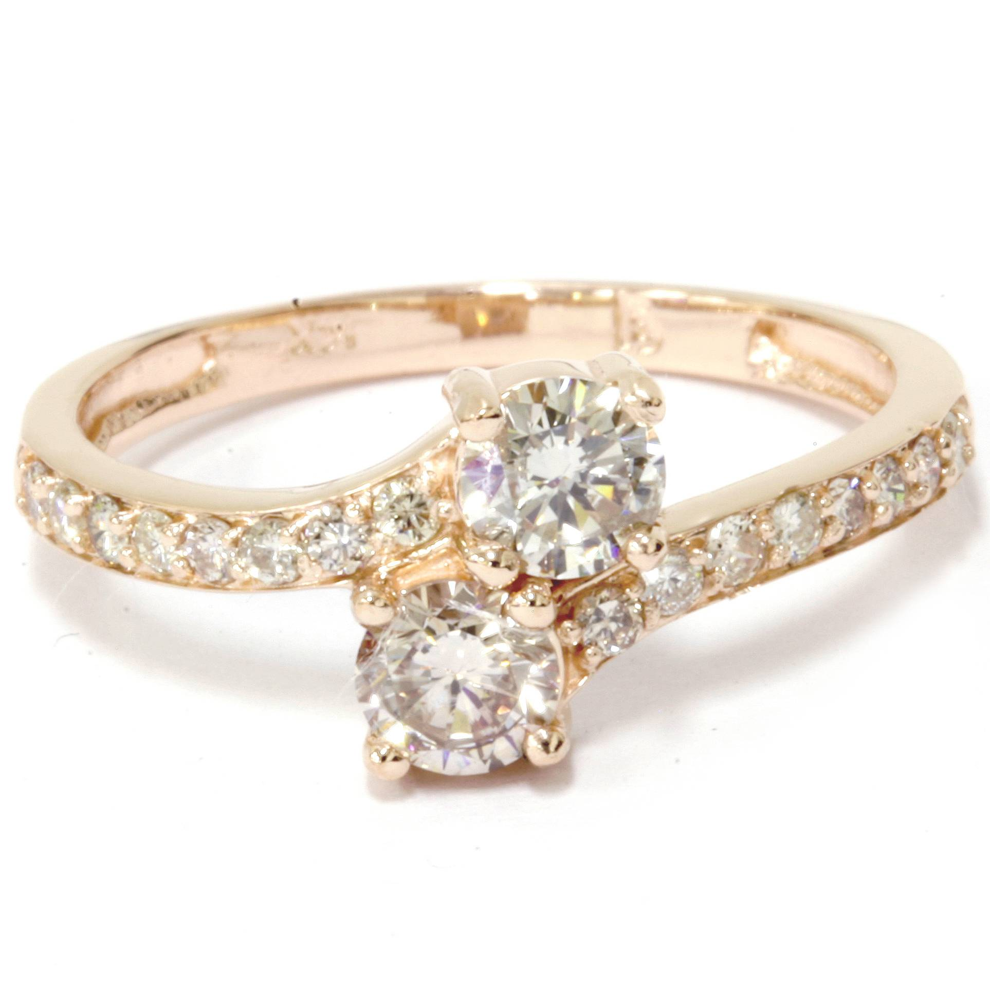1 carat forever us 2 stone diamond ring 10k yellow gold ebay. Black Bedroom Furniture Sets. Home Design Ideas