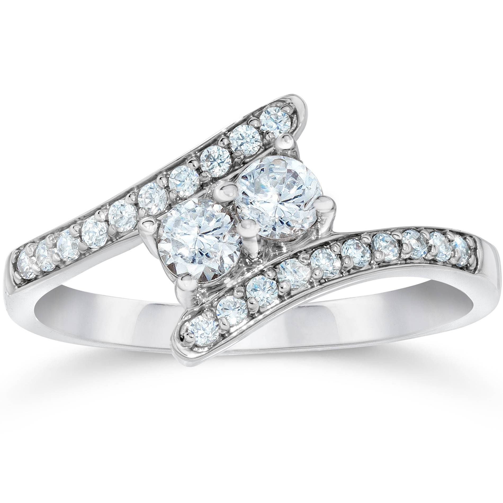 1 2Ct Forever Us Genuine Diamond Two Stone Ring White Gold Engagement Solitaire