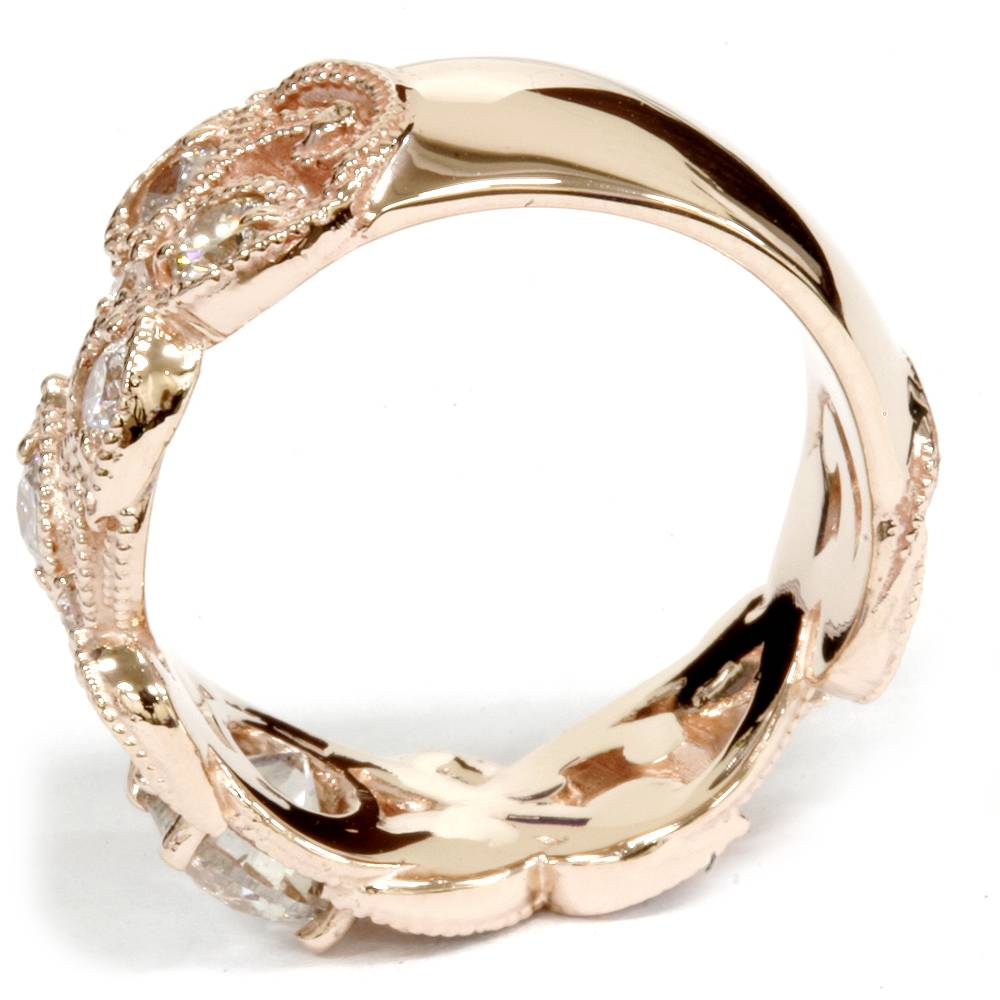 womens 2ct vintage rose gold diamond engagement ring 14k