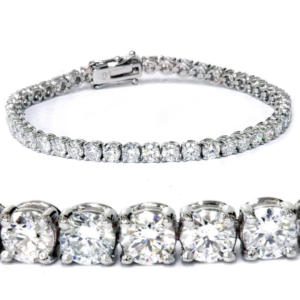 g si 7 carat round lab grown diamond tennis bracelet 14k. Black Bedroom Furniture Sets. Home Design Ideas