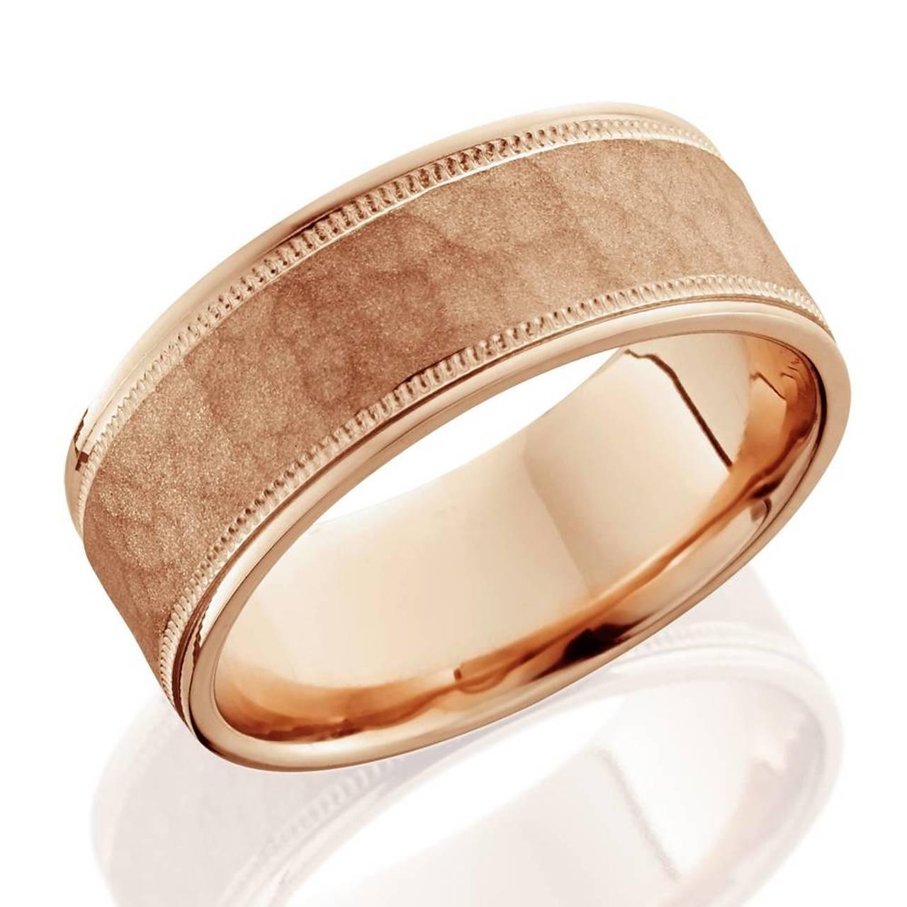 8mm Hammered Mens Wedding Band 14k Rose Gold Ebay