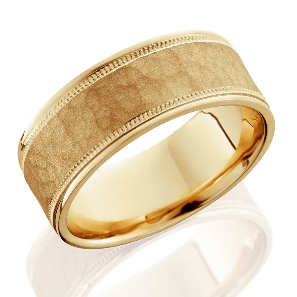 8mm hammered mens wedding band 14k yellow gold ebay