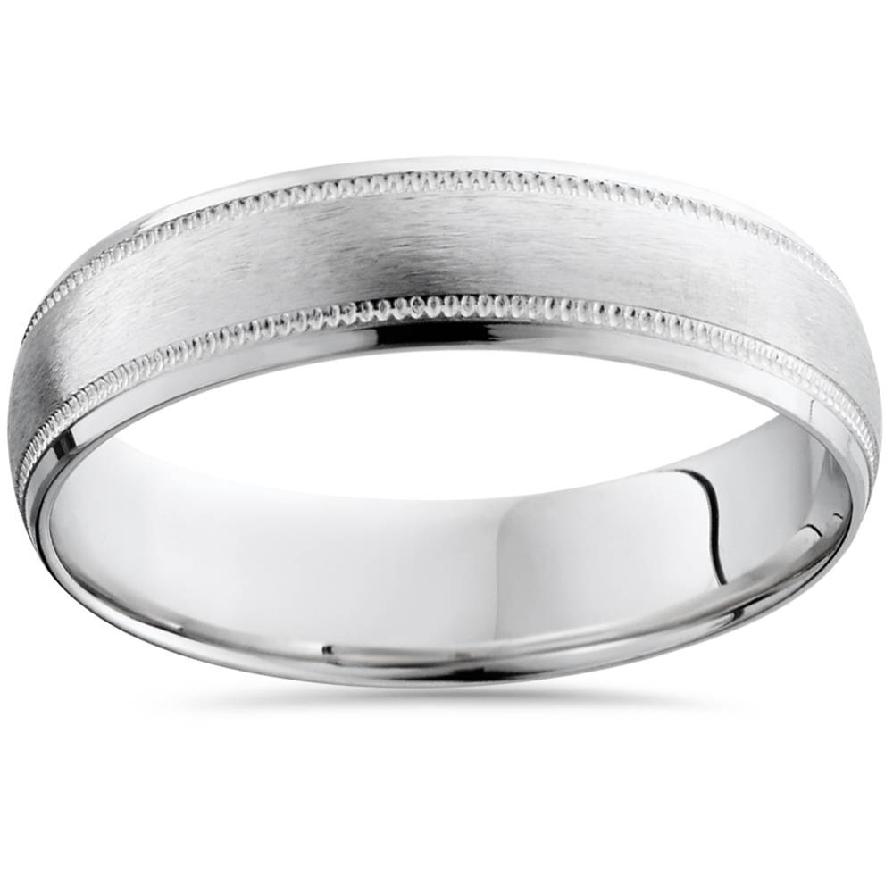 Mens Satin White Gold Wedding Band 6mm