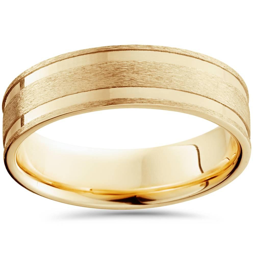 6mm 14k yellow gold brushed inlay wedding band ebay