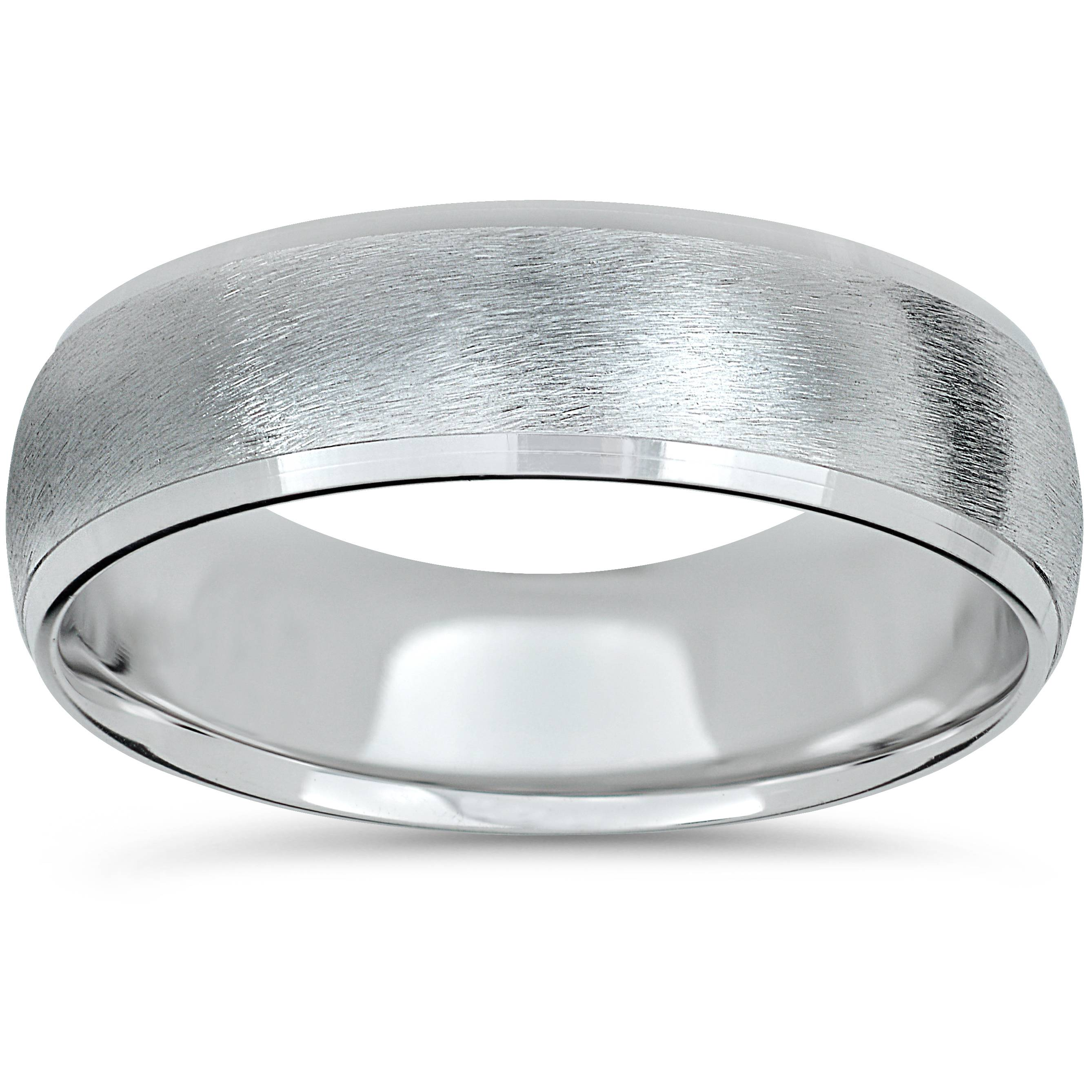 Platinum Wedding Band Mens Brushed Beveled Ring