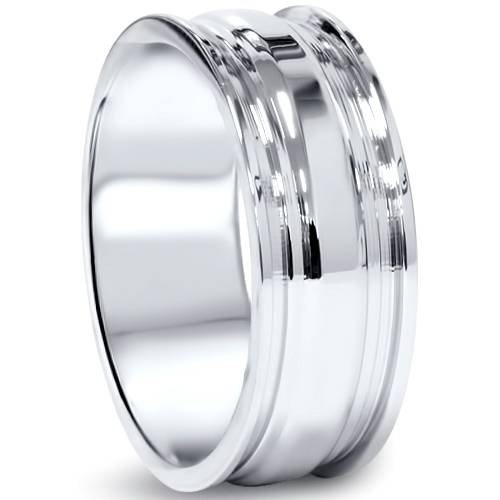 Mens Hand Carved High Polished 8mm Comfort Fit Wedding Band Ring 14K White Gold