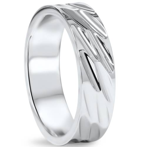 Men S Wedding Band 10k White Gold 4mm: Mens 6mm High Polished Comfort Fit Wedding Band Ring 10K