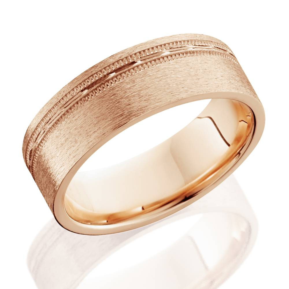 Mens 6mm Flat Brushed Offset Wedding Band 14k Rose Gold