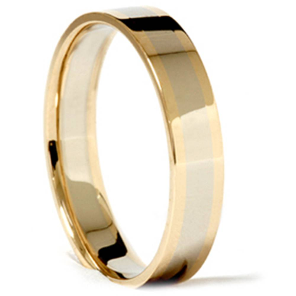 14k white yellow gold 4mm two tone wedding band ring ebay