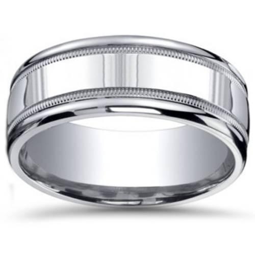 9mm milgrain mens wedding band 10k white gold ebay
