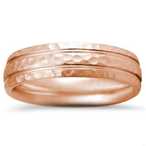 Hammered 14K Rose Gold 6mm Wedding Mens Ring