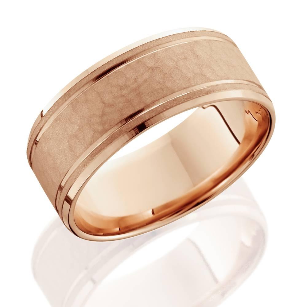 8mm Hammered Mens Wedding Band 14K Rose Gold