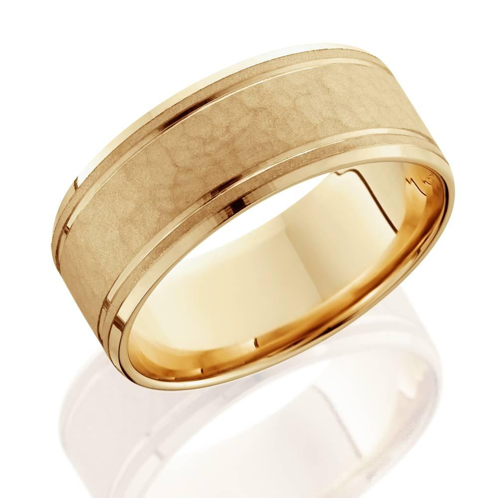 8mm hammered mens wedding band 14k yellow gold ebay