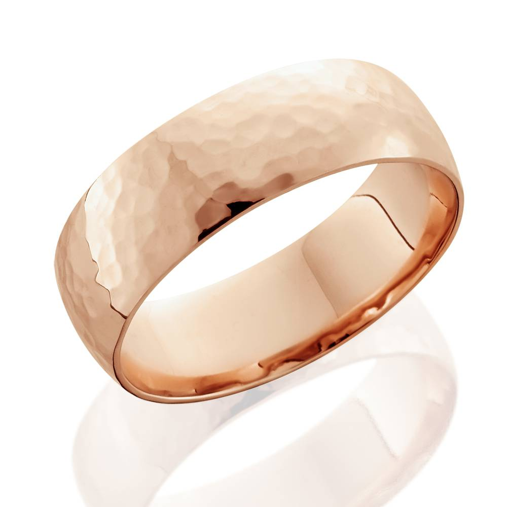 7mm 14k Rose Gold High Polished Hammered Mens Wedding Band