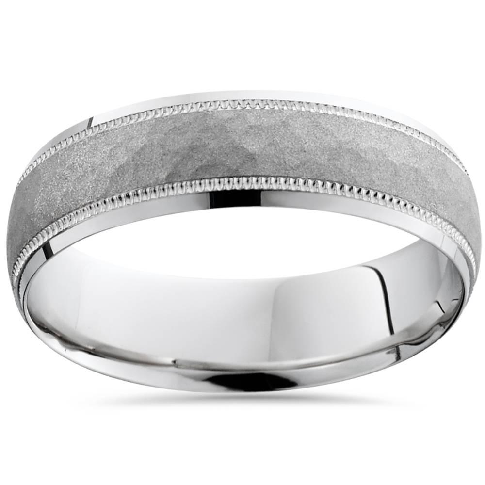 mens hammered 950 platinum 6mm comfort fit wedding band