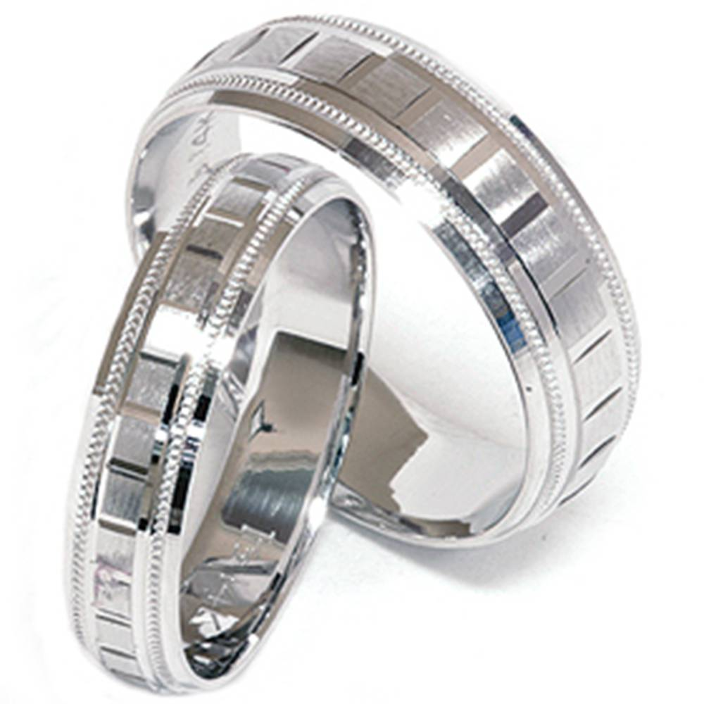 Matching his hers white gold wedding band ring new set ebay for Matching white gold wedding rings