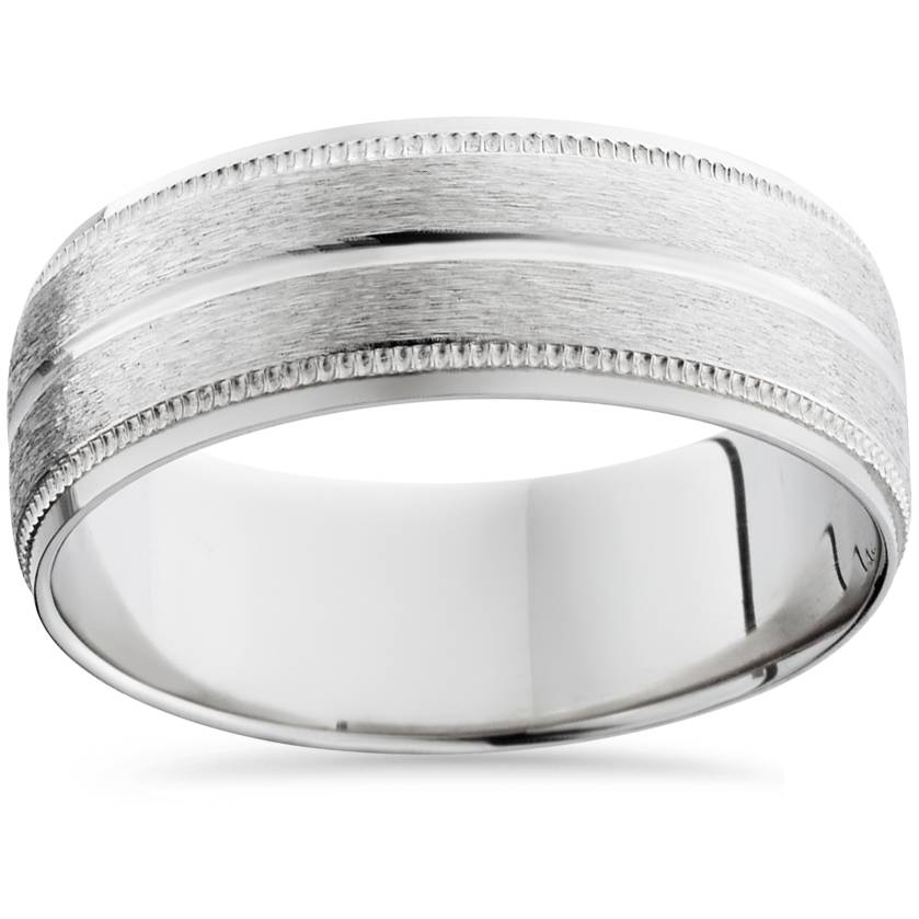s 8mm palladium satin wedding band bands mens rings ebay