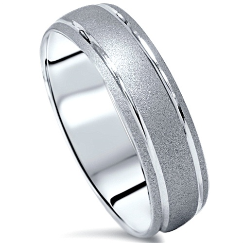 10K White Gold Mens Brushed Double Inlay Wedding Band Anniversary Ring 7 12