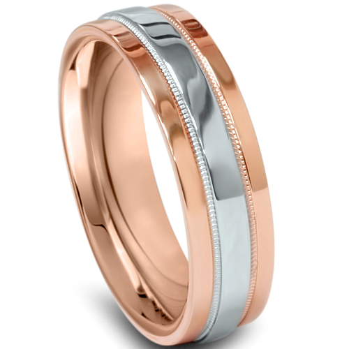 New With Tags Scott Kay Platinum Mens 6mm Wedding Band: Mens 6mm Flat 950 Platinum 14 KT Rose Gold Comfort Fit