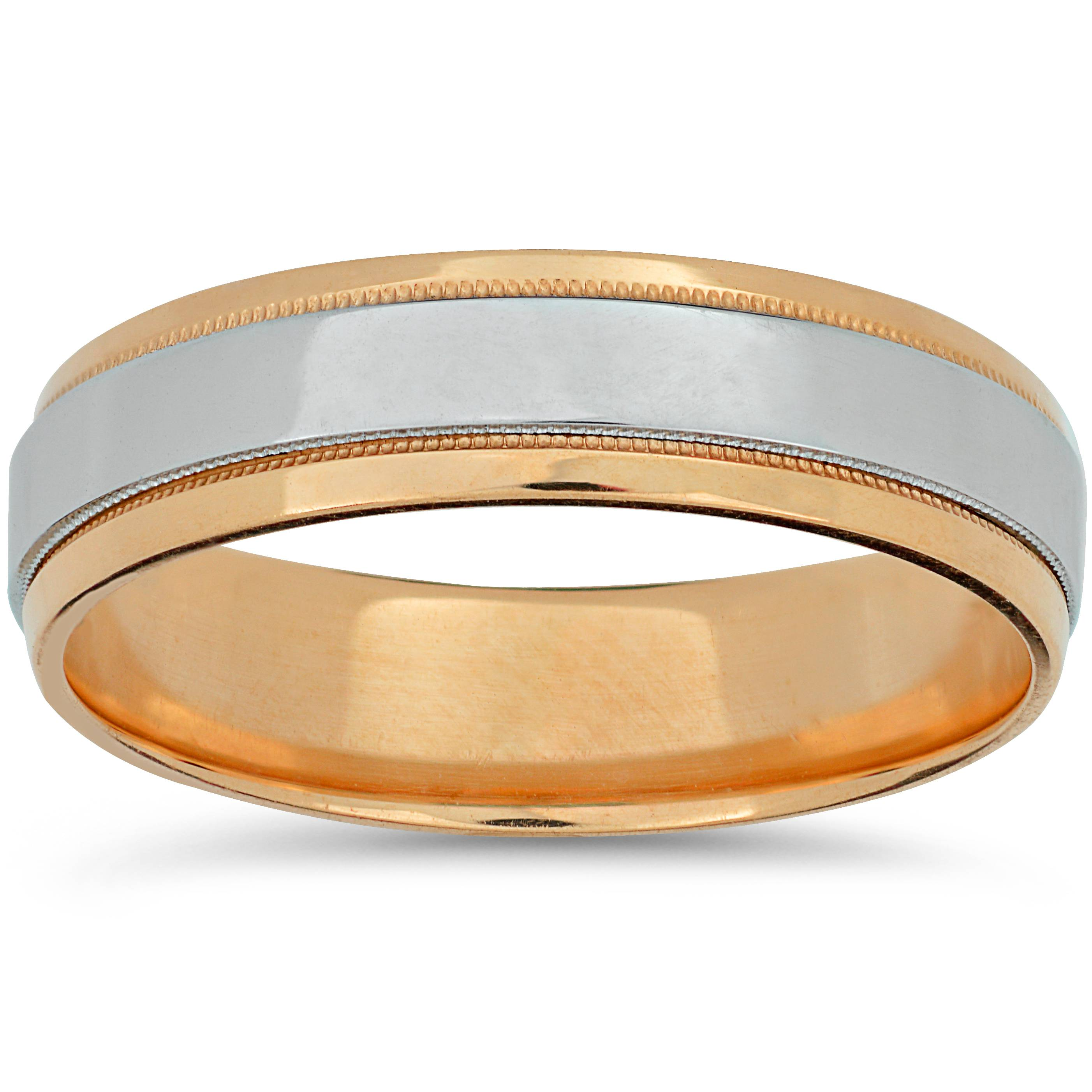 Platinum Amp Rose Gold Two Tone Wedding Band Mens 14k High Polished Plain Ring
