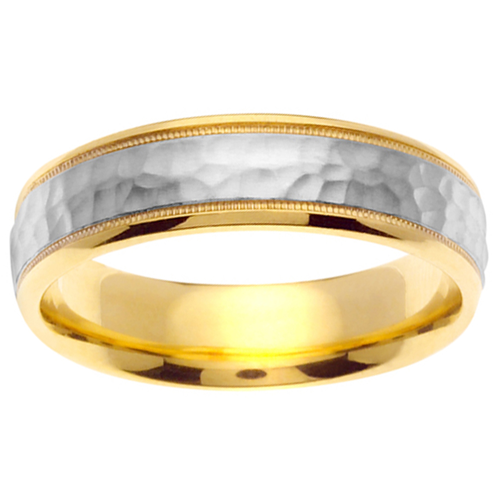 6mm Mens 14k White Yellow Gold Hammered Wedding Band