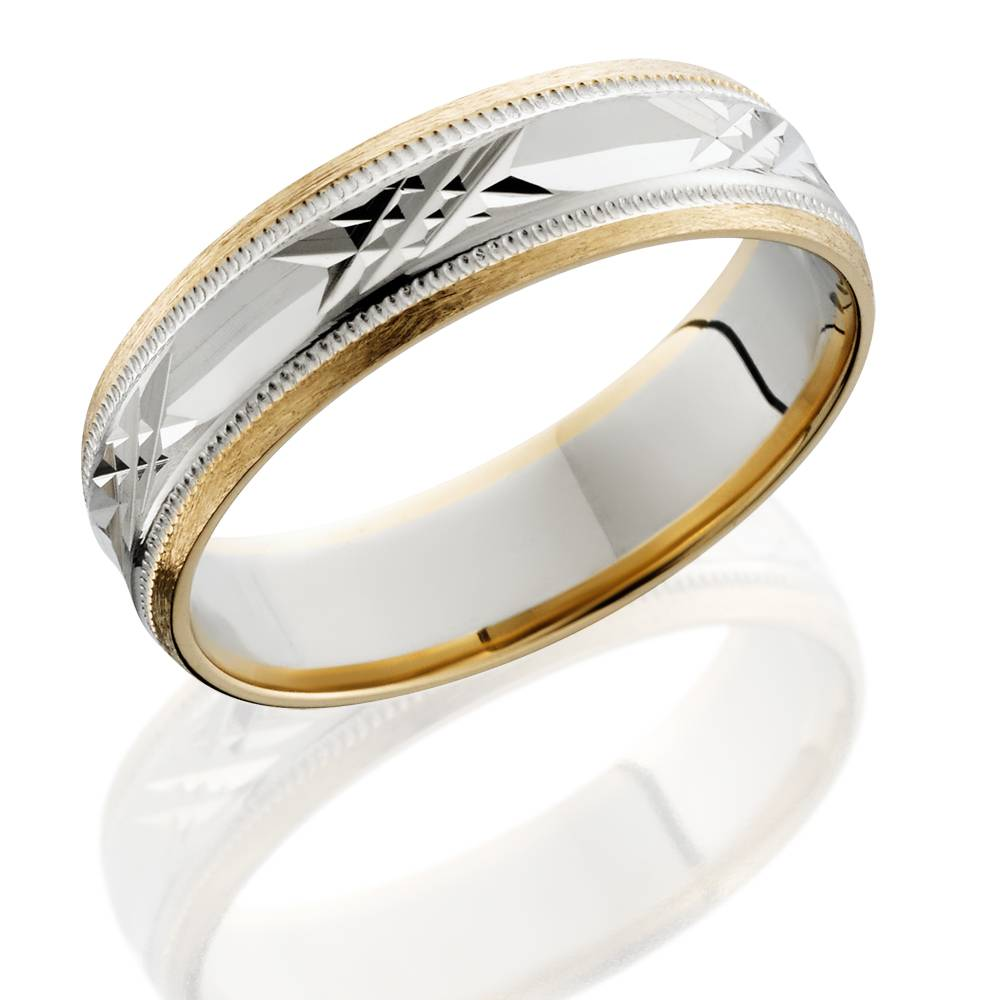 mens 14k white yellow gold two tone 6mm wedding band